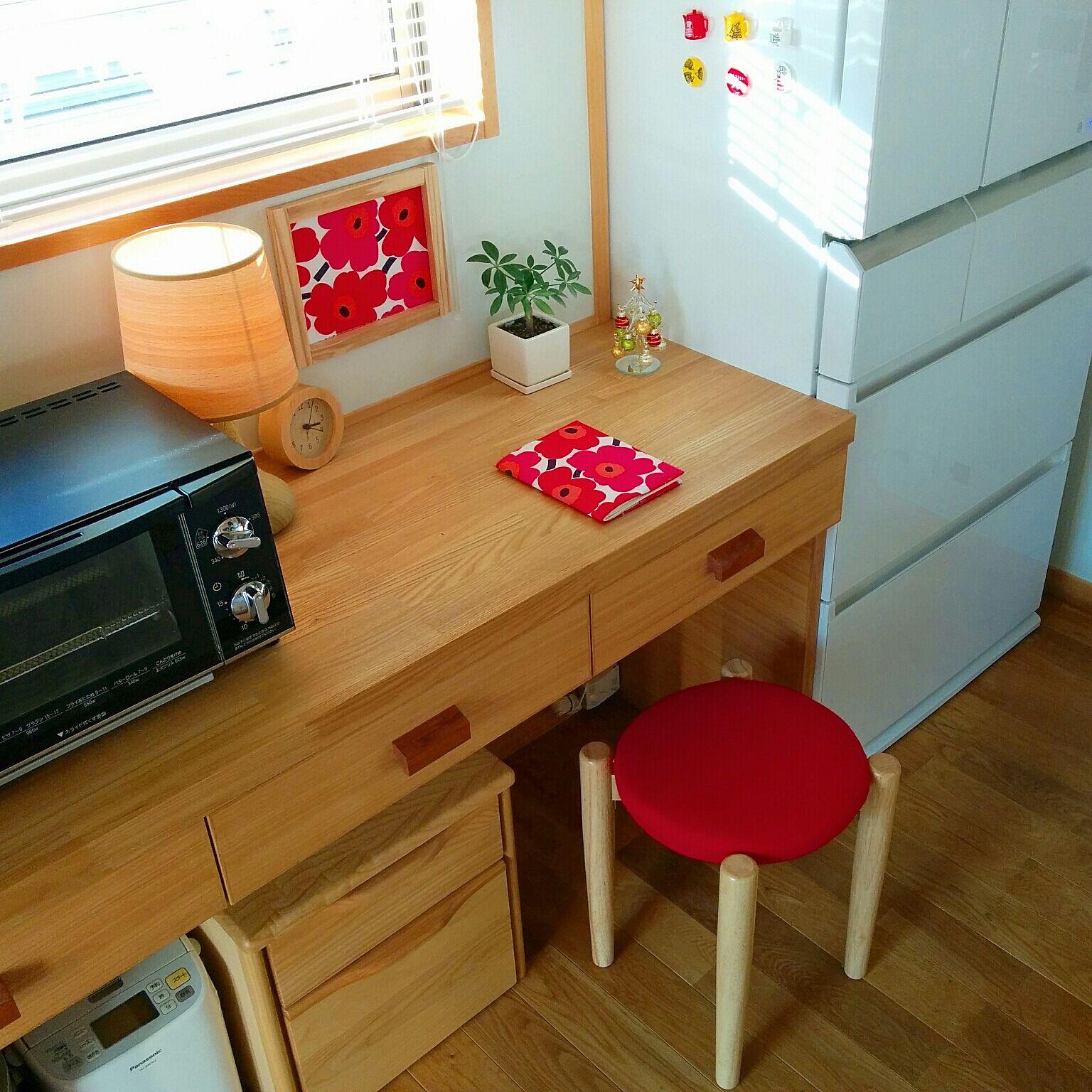 キッチン後ろの家事スペース(引用→RoomClip)